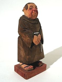 Hand Carved Wood Monk Figure Signed C O Trygg Sweden 1971 | eBay