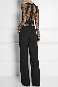 Elie Saab Paneled Lace and Crepe Jumpsuit in Black Look Fashion, High Fashion, Womens Fashion, Fashion Trends, Mode Style, Style Me, Mode Inspiration, Fall Winter Outfits, Elie Saab