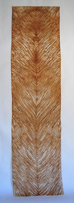RUST DYEING & SHIBORI: Lovely arashi shibori scarf on silk chiffon, rusted steel by Liz Oliver