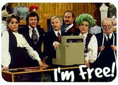 Are You Being Served? Miss Brahms, Mr. Lucas, Mr. Humphries, Captain Peacock, Mrs. Slocombe, Mr. Grainger. I'm free!