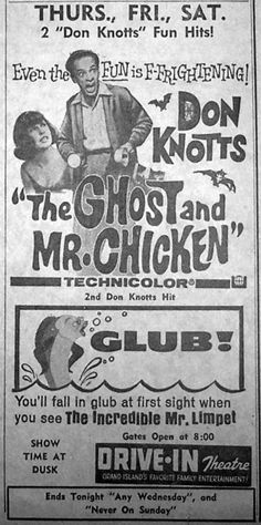 I love this movie! I still think the organ music is spooky! Drive Inn Movies, Drive In Movie Theater, Old Movies, Vintage Movies, Vintage Ads, Classic Tv, Classic Movies, Don Knotts, Movie Sites