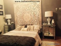 Carved Teak Wall Hanging Bed Headboard  white by IndiaExotica
