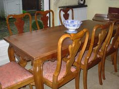 Set Eight Vintage Walnut Dining Chairs
