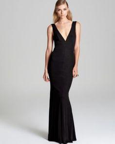 ABS by Allen Schwartz V Neck V Back Gown - Sleeveless | Bloomingdale's