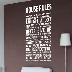 Family Love House Rule Wall Quotes Wall Art / Wall Stickers / Wall Decals from AmazingSticker by AmazingSticker on Etsy