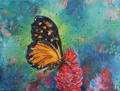 Monarch butterfly on red ginger, acrylic painting by Redhead Art made by Lisa Marie Schmidt. Butterfly Art, Monarch Butterfly, Butterflies, Redhead Art, Artist Gallery, Lisa Marie, Schmidt, Painting Art, Paintings