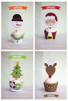 So Cute Snowman, Santa, Christmas Tree and Rudolph Cupcake Wrapper and Toppers Set. Noel Christmas, Christmas Goodies, Christmas Printables, All Things Christmas, Winter Christmas, Christmas Crafts, Handmade Christmas, Christmas Ideas, Navidad Diy