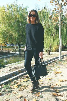 Topshop trousers, The Kooples jumper, Prada bag, Isabel Marant boots