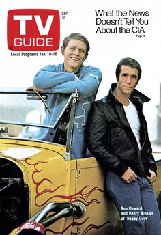TV Guide January 10, 1976 - Ron Howard and Henry Winkler of Happy Days.