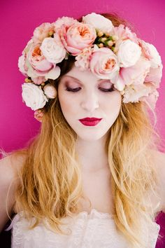 Vintage Pretty Seaside Wedding Ideas Flower Crown Headdress Bride Bridal Pink  http://www.jobradbury.co.uk/