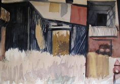 Windy Ghosts ORIGINAL Watercolor Painting  Urban  Abstract