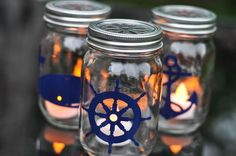 Hometalk :: Nautical Mason Jar Lanterns