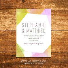 Modern Geometric Watercolor Wedding Invitation OR von CitrusPressCo, $3.95