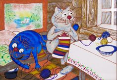 """Stained glass painting """"Blue cats. Winter has come"""""""
