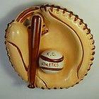 VINTAGE KANSAS CITY ATHLETICS CERAMIC ASHTRAY - BASEBALL GLOVE AND BAT - KC A's - ashtray, ATHLETICS, Baseball, CERAMIC, City, Glove, Kansas, Vintage