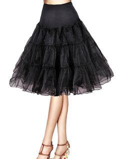 "Fonr 50s Vintage Rockabilly Net Petticoat Skirt Tutu ,26"" Length (10, black)"