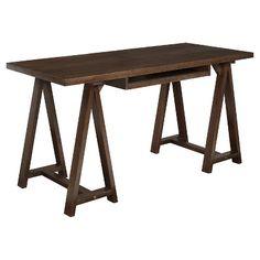 Simpli Home Sawhorse Desk - Medium Saddle Brown