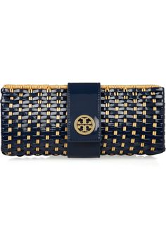 I love me some Tory...Tory Burch Rattan and faux patent-leather clutch NET-A-PORTER.COM