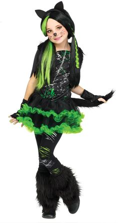 Description #119512 This fun Kool Kat Kids Costume Includes the dress with tail, glovelettes, footless tights, headband with ears, and the fuzzy boot covers. Includes: - Dress - Tail - Glovelettes - T