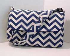 Navy Chevron Bag Chevron Messenger bag Blue Chevron bag by leurQ, $40.00