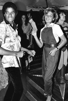 Michael Jackson and Tatum O'Neal at a disco party in 1979