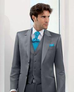 costume de cérémonie pour homme - costume de mariage : Costume Homme 3 Pièces Gris Anthracite NUPTIAL 143