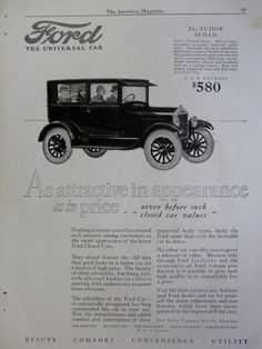 1925 Ford Tudor Sedan Vintage Advertisement by RelicEclectic, $8.00