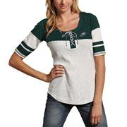 Philadelphia Eagles Youth Girls Faux Layered Raglan Long Sleeve T-Shirt - Midnight Green/White
