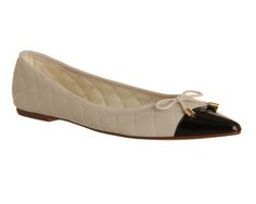 Office Veronica Quilted Point Off White Leather - Flats