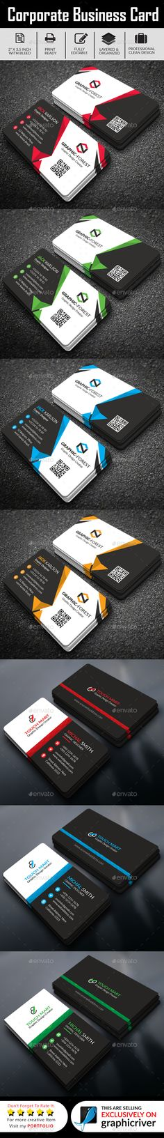 #Corporate Business Card 2 in 1 - #Business #Cards Print Templates