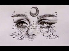 Girl Drawing Sketches, Art Drawings Sketches Simple, Pencil Art Drawings, Cool Drawings, Sketch Art, Drawings For Girls, Tumblr Drawings Easy, Moon Sketches, Random Drawings