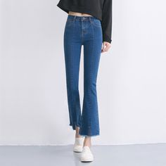 Flare Jeans Women's High Waist Boot Cut Jeans Fashion Denim Pants Elastic Trouser Black Blue sexy slim high waist jeans