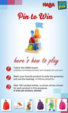 Pin it to win it.  Win great toys!   Repin to Win: Repin your favorite toy to enter the HABA