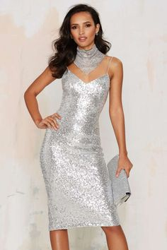 Sweet Nothings Sequin Dress - Silver - Clothes   All Things Glitter   All   Party Shop   Going Out   Midi + Maxi   Sequins & Glitter