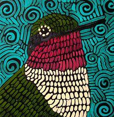 8 x 8 acrylic on wood. Suzan Buckner