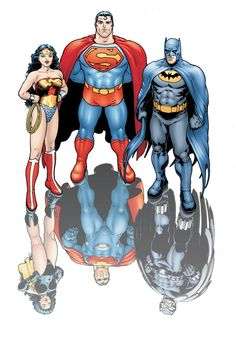 DC Trinity: Wonder Woman, Superman, and Batman. Comic Book Artists, Comic Book Heroes, Comic Books Art, Comic Art, Wonder Woman Comic, Superman Wonder Woman, Batman And Superman, Superman Stuff, Dc Comics Superheroes