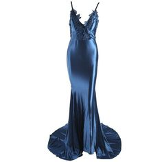 Honey couture penelope blue applique formal gown dress ($289) ❤ liked on Polyvore featuring dresses, gowns, satin prom dresses, formal evening gowns, sexy blue dress, formal prom dresses and sexy formal dress