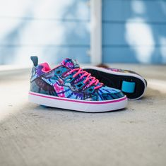 NEW colorful Tracer Heelys just dropped, who's ready to rock this style? #newcollection #newrelease Shoe Releases, Flag Logo, Pink Ties, Digital Prints, Shop Now, Tie Dye, Product Launch, Colorful, Rock