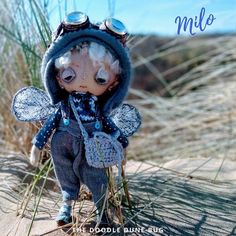 Milo a one of a kind little steampunk sand doodle dune bug Dee Day, Pixie Ears, Leather Braces, Felt Boots, Bug Art, Little Doodles, White Wings, The Dunes, Creative Gifts