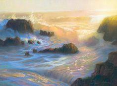 "Peter Adams, Ephemeral Light, Leo Carrillo Beach, pastel, 12"" x 16"""