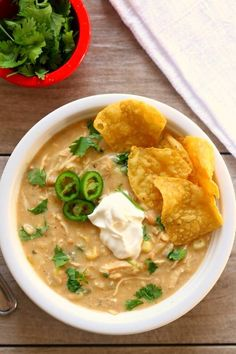 Instant Pot Green Chili Chicken Enchilada Soup--thick and creamy soup with all the flavors from salsa verde chicken enchiladas.