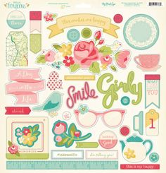 My Mind's Eye - Hello Gorgeous Collection - 12 x 12 Chipboard Stickers - Elements