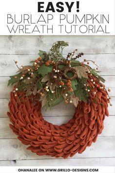 EASY 10 Steps To Making A Petal Burlap Pumpkin Wreath