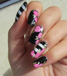 Floral accent manicure on black & white striped base inspired to Valentine's nails created by Paulina's Passions - photo © Pedrìnails