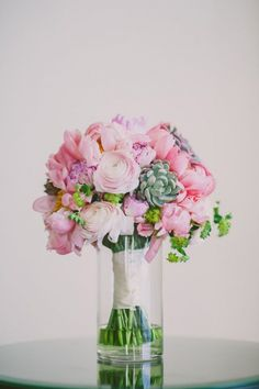 Pink peonies and succulents, with parsley