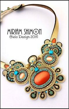 Gold orange turquoise cream Soutache necklace