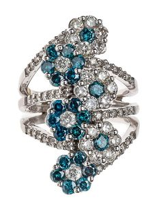 A 14 KARAT WHITE GOLD, DIAMOND, AND BLUE DIAMOND BYPASS RING BY ZABCO 20th Century, New York, New York Bypass ring in openwork floral motif comprising six flowers of seven diamonds each in alternating arrangements of diamonds and blue diamonds, with an approximate total weight of 1.25 carats and 21 brilliant-cut blue diamonds of SI2-I3 clarity with an approximate total weight of 1.19 carats. Marked to shank interior Zabco, 14K, 585, 125, and 119.