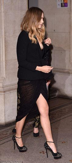 Headturner: The beauty also showed off her legs in a sheer split skirt, adding a pair of killer heels to the mix