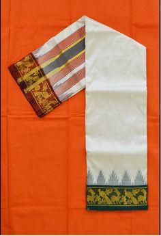 Double Side Zari Ganga Jamuna border with Temples #dhoti visit: http://www.saridhoti.com/Men/Dhoti/Silk-Dhoti
