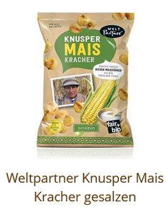 Fair trade Knusper Mais Snack Recipes, Snacks, Fair Trade, Chips, Food, Glass, Snack Mix Recipes, Appetizer Recipes, Appetizers